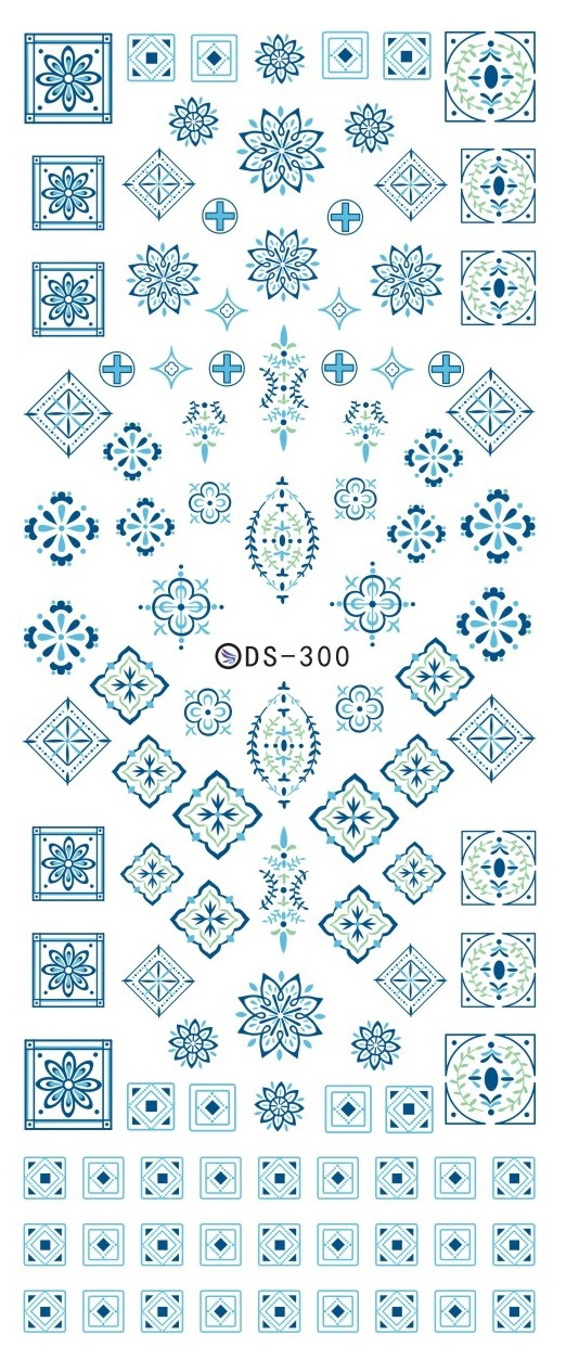 DS300 2016 New Water Transfer Stickers for Nails Beauty Harajuku Blue Totem Decoration Nail Wraps Sticker Fingernails Decals(China (Mainland))