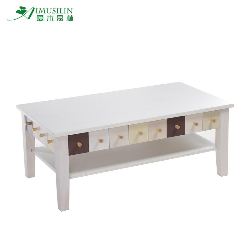 Solid Wood Korean Simple Love Thinking Small Apartment Ivory Rectangular Tea Table Living Room