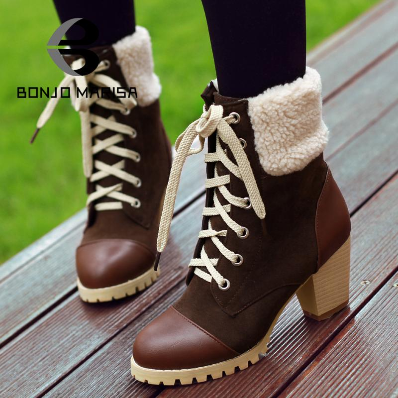 Fashion Mixed Colors Ankle Boots Vintage Lace Up Chunky High Heels Winter Fur Shoes Round Toe Platform Boots Big size 34-43