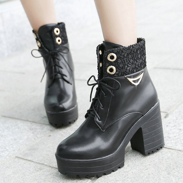 2016 Brand New Thick High Heel Winter Spring Boots Shoes Round Toe Platform Lace UP Women Ankle Boots Hot Sale Shoes size 34-44<br><br>Aliexpress