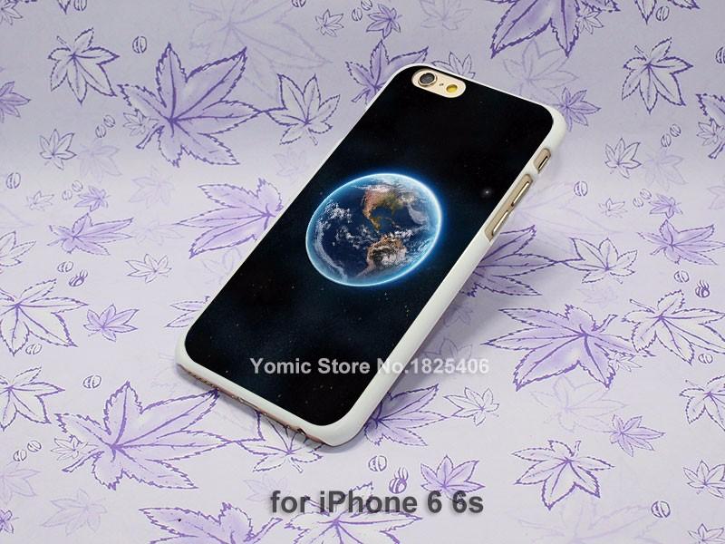 earth view from space satellite illust art Design hard White Skin Case Cover for Apple iPhone 4 4s 4g 5 5s 5c 6 6s 6 Plus 6splus