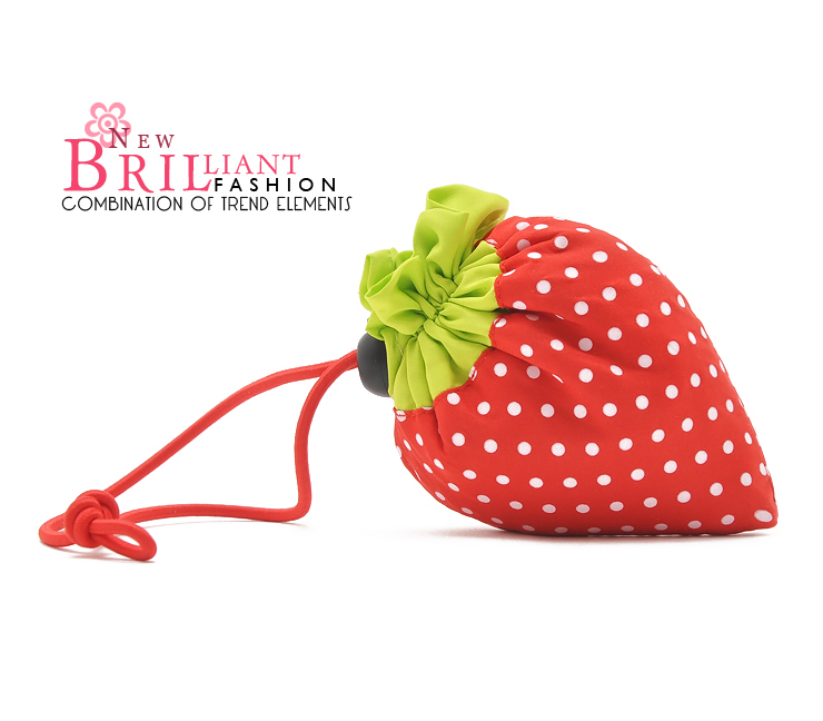 Free Shipping New Arrival Strawberry Folding Portable Pouch Shopping Bag B042(China (Mainland))