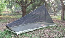 560G Ultralight Outdoor camping tent with mosquito net Summer 1-2 people Single tents travel without any poles bottom army green