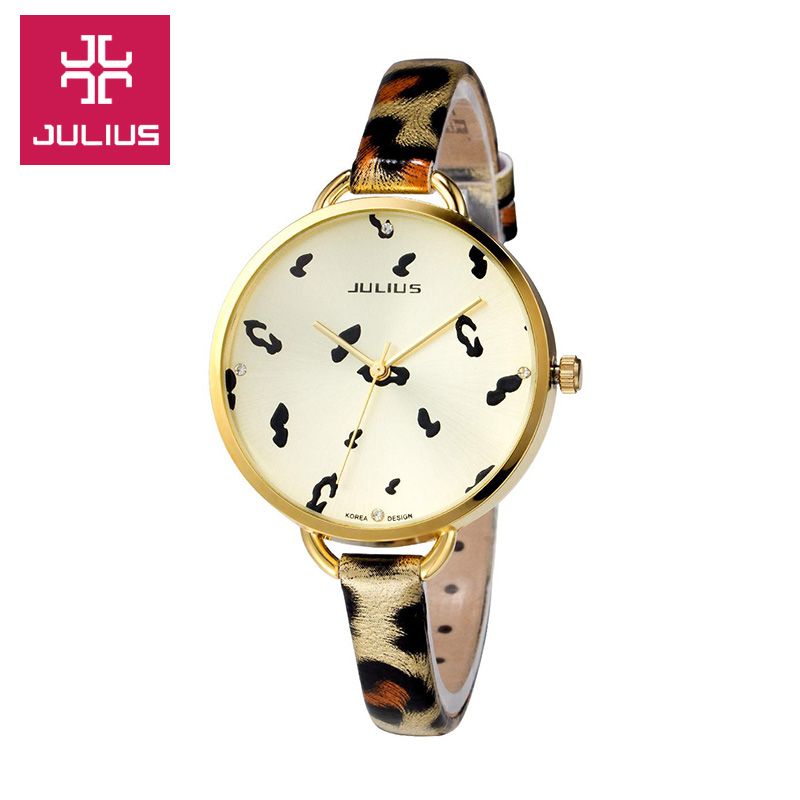 Здесь можно купить  JULIUS Korean Fashion Fine Leather Strap Big Dial Quartz Watch Ms. Leopard For Girlfriend Gift  Часы