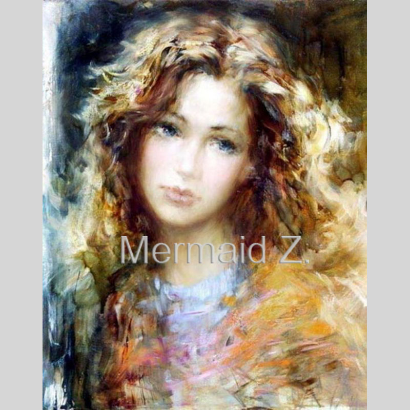 Hand-painted Oil Painting Lady Portrait on canvas Portrait by Lithuanian artist Stanislav Sugintas Living room decor(China (Mainland))