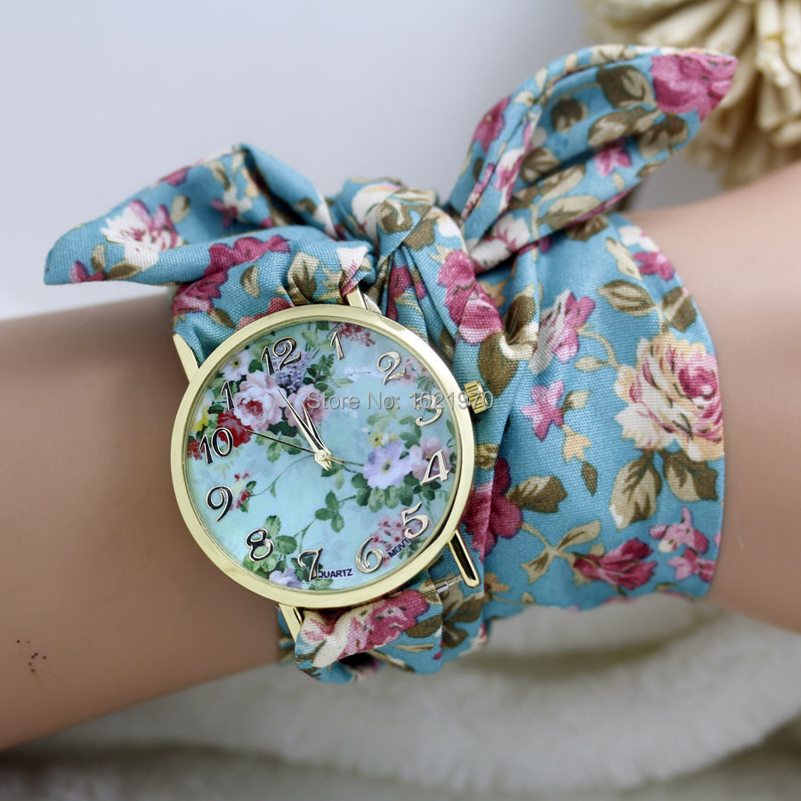 teen watches on cloth girl floral blue product watch hugerect luulla strap