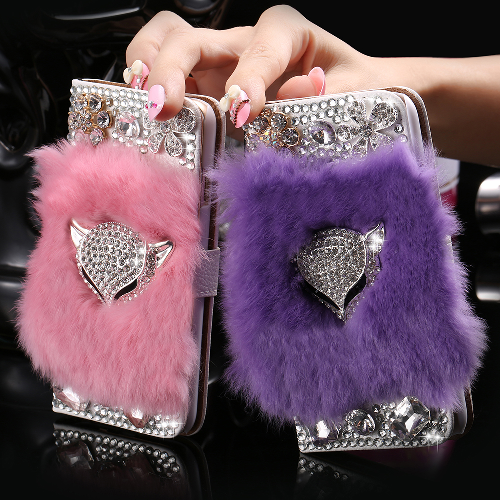 i6/6S Cool Fox Head Glitter Diamond Stand Flip Leather Case For iPhone 6 4.7/6S Real Rabbit Fur Hair Card Slots 6S Pouch Cover(China (Mainland))