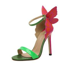 Explosion Models 2016 NEW Women Sophia Webster Colorful Butterfly Heeled Sandals Pumps 11.5 cm Thin Heel Peep Toe Shoes(China (Mainland))