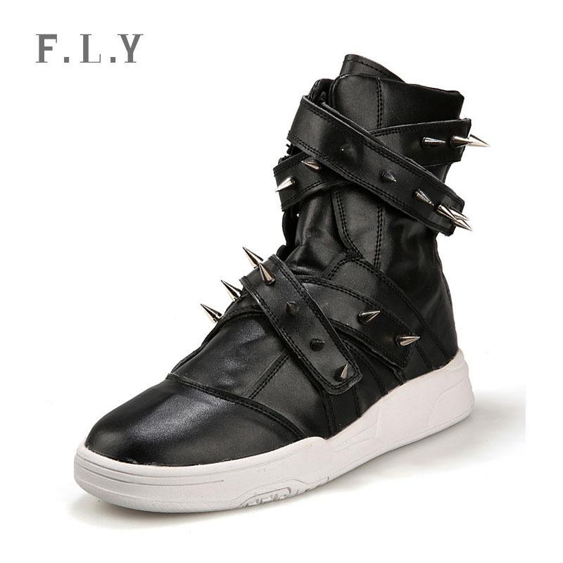 2015 new high-top mens casual shoes Korean men Detachable rivet PU leather boots Hip-hop Performance botas Plus size PY0103 - NO.1 store