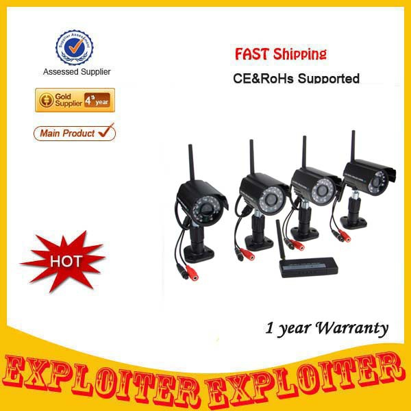 Outdoor Waterproof 2.4Ghz Night Vision Quad Display 2.4Ghz Wireless Camera DVR Kit With Internet View,Free Shipping(China (Mainland))