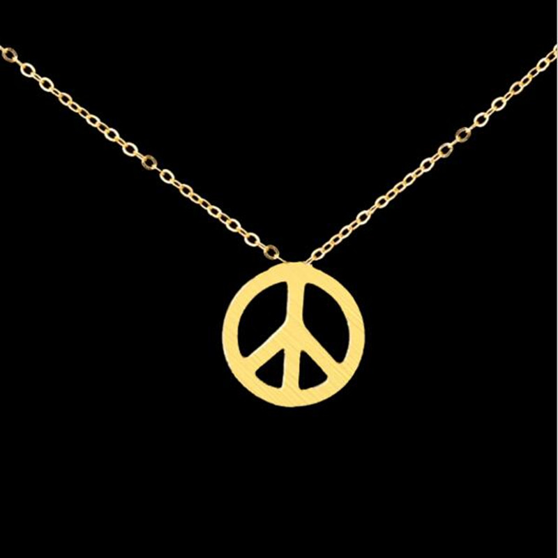 N00114 2016 Fashion Jewelry Gold Silver Chain Vintage Stainless Steel Necklaces Peace Necklace Symbol Charm Necklaces(China (Mainland))