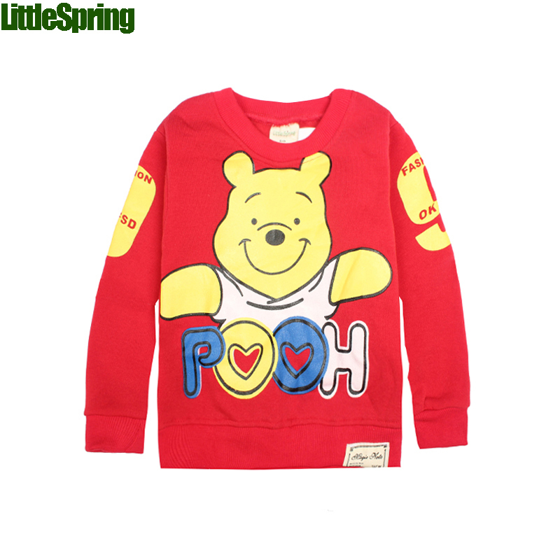 LittleSpring Retail Fleece Spring Autumn Warm Baby boys girls cartoon bear T-shirt casual tops Children kids sweatershirts - store