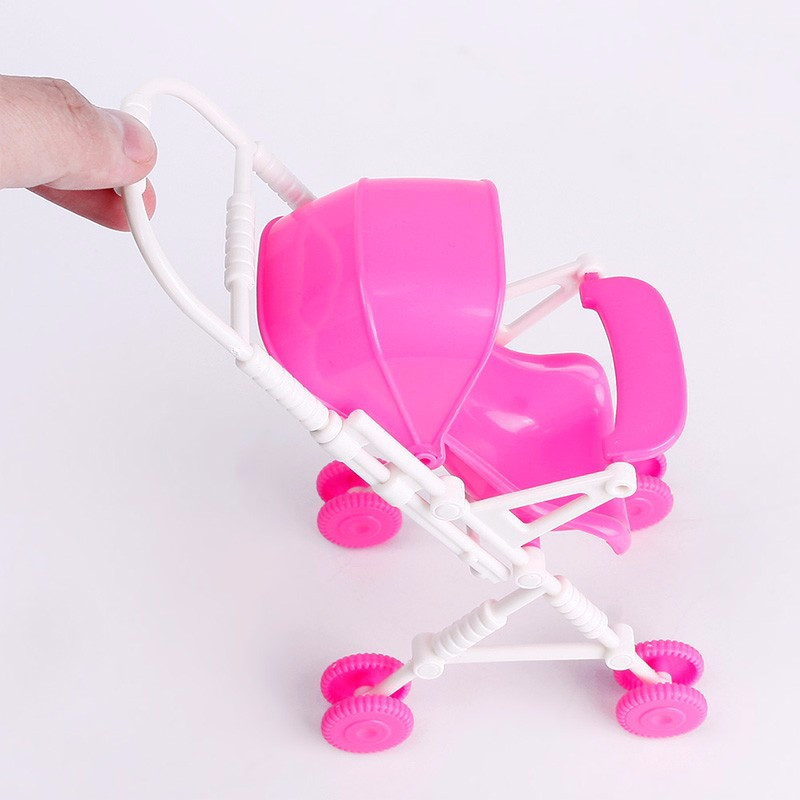 New Pink Meeting Child Stroller Trolley Nursery Furnishings Toys for Barbie Doll
