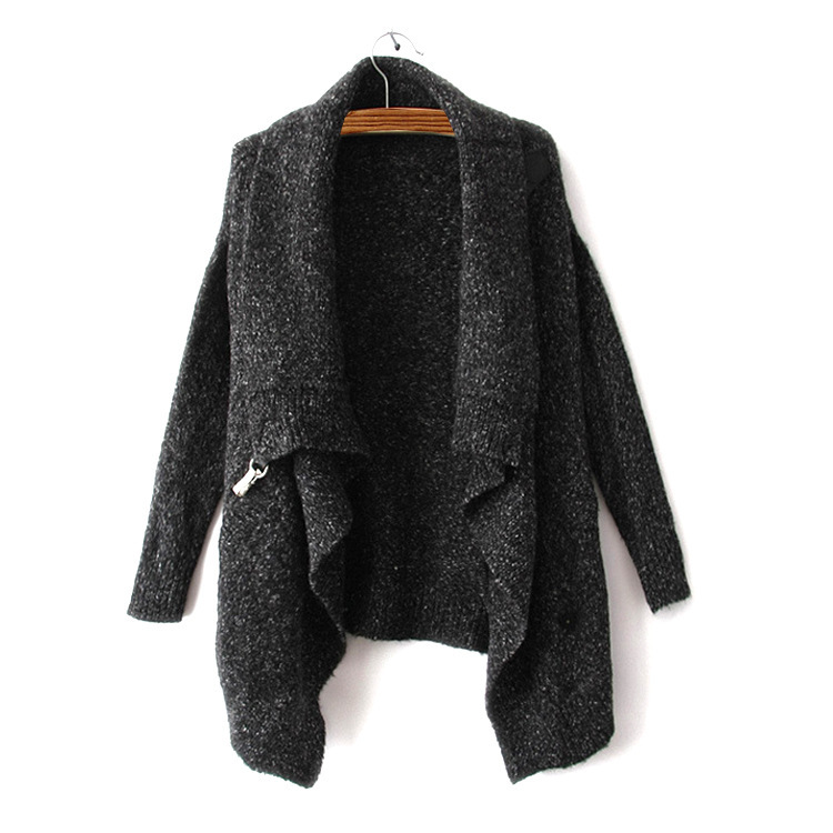 Autumn Winter Women Sweater Brand Design Black Long Sleeve Knitwear Korean Poncho Oversized Knitted Casual Cardigan Sweater 1641(China (Mainland))