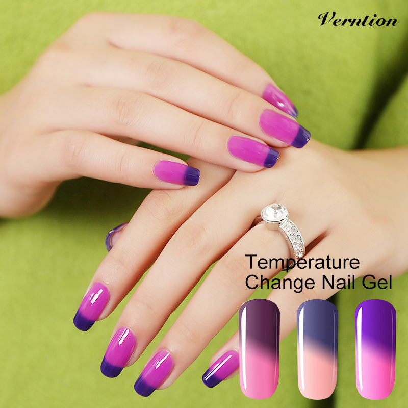 Verntion 8ml Thermo Mood Change the Colors Lucky UV Gel Nail Polish Temperature Changing Color LED UV Soak Off Gel Polish(China (Mainland))