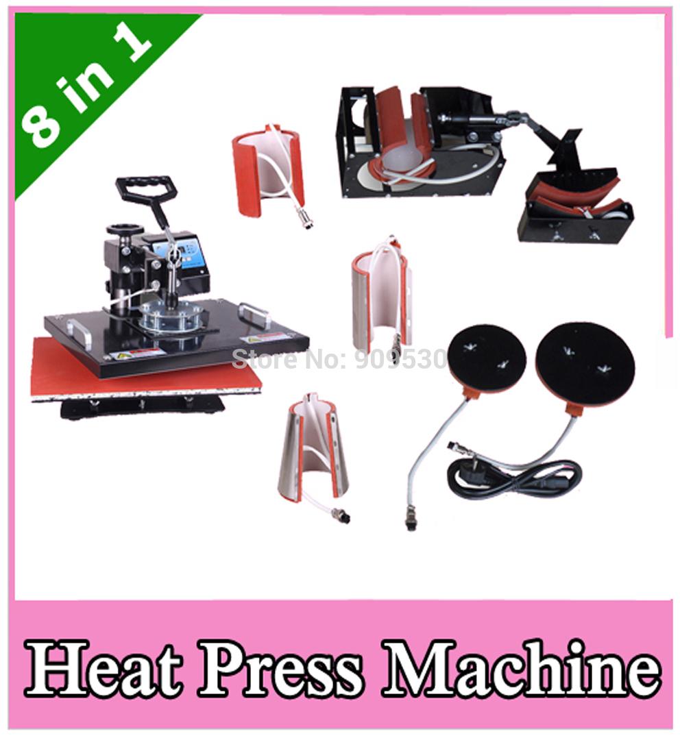 Equipos de transferencia de calor combinado 8 en 1 para la taza cap plate máquina de impresión de Camisetas DX801(China (Mainland))