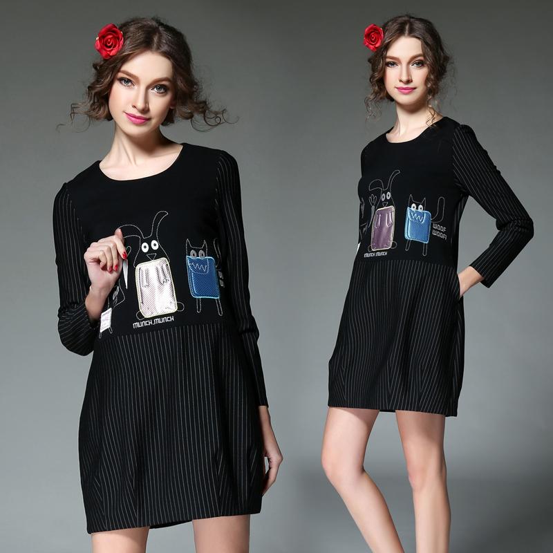 plus size 5XL clothing spring Dress Women Dresses top loose t-shirt medium-long basic shirt stripe one-piece dress Vestidos(China (Mainland))