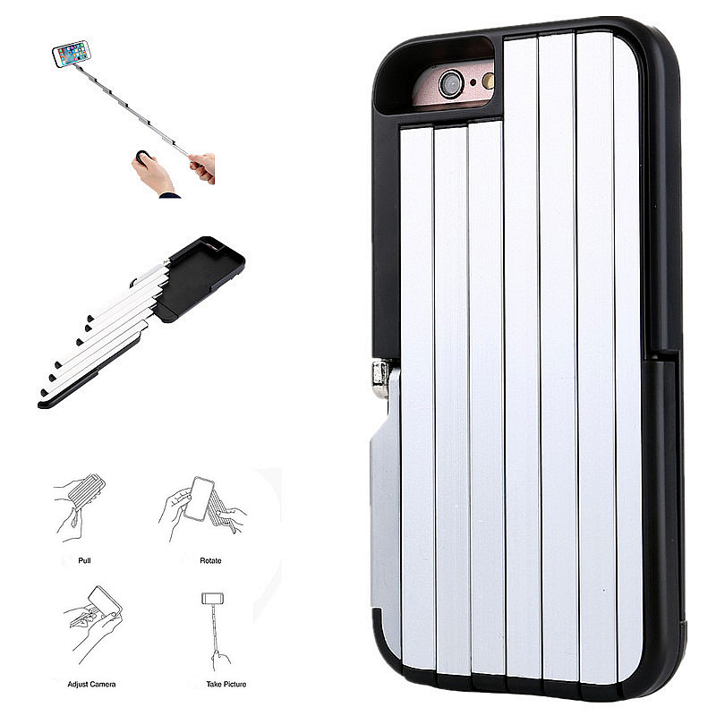Newest Extendable Multifunction Aluminum Self-Stick Phone Case Carry Fold Draw Out For iPhone 6S 6/6S Plus With Stand Function(China (Mainland))