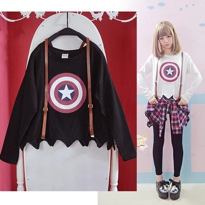 Аюми девочки длинный рукав T рубашка милый Harajuku майка рубашки японский стиль Star печать амо белый черный топы