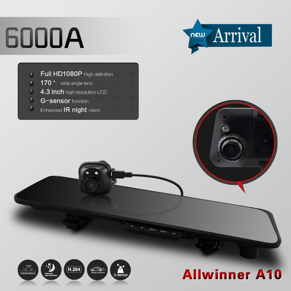 New Car DVR Allwinner A10 Chip Dual Lens 170 Wide Angle Len 4.3 Inch Full HD 1080P Rearview Mirror GPS Navigator With G-sensor(China (Mainland))