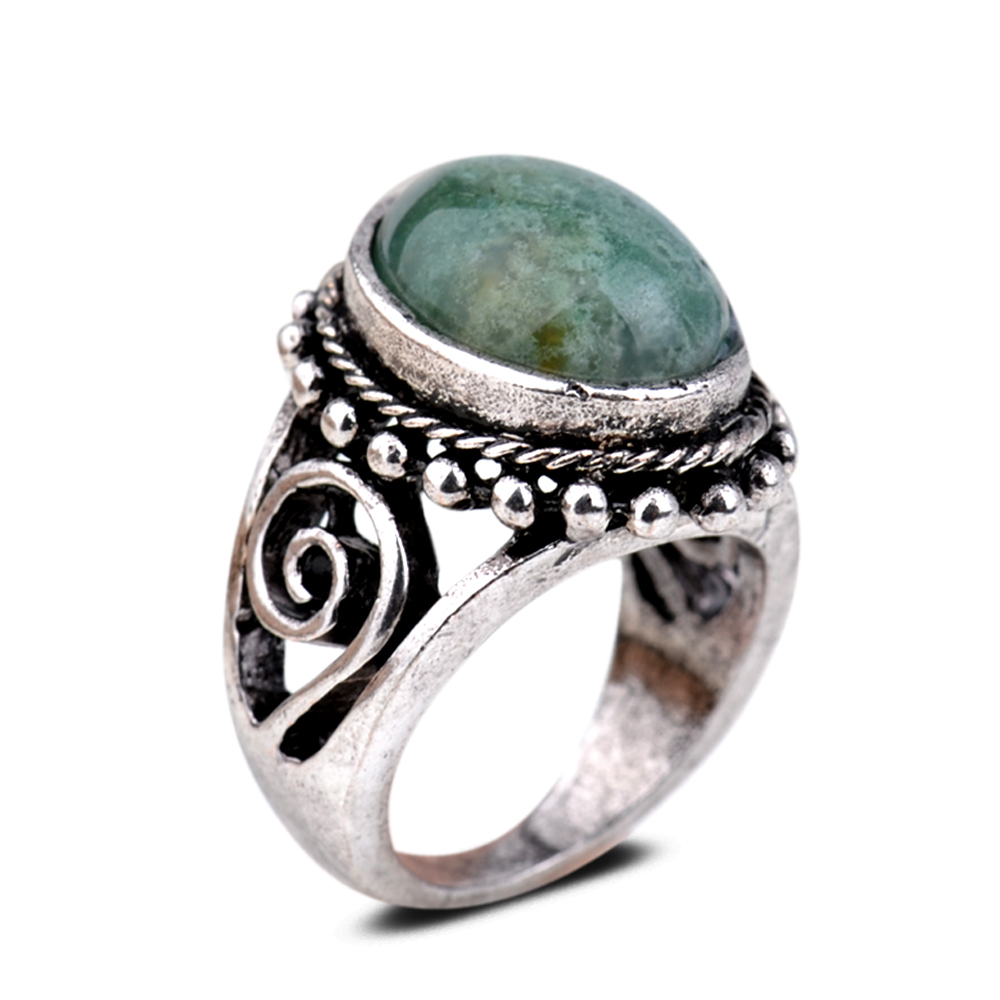 Antique Silver Plated Oval Green Jade Hollow Out Women Party 6 5 8 9 Rings