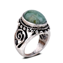 Wholesale And Retail  Antique Silver Plated Oval Green Jade Hollow Out Women Party #6.5, 8, 9 Ring Jewelry