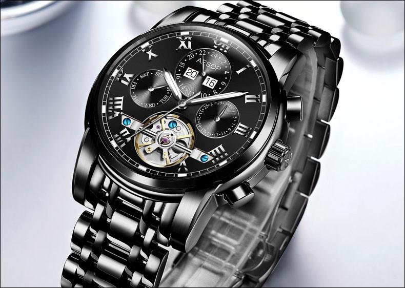 Luxury tourbillon watch men Stainless steel Automatic mechanical Sapphire waterproof multifunction Roman watch relogio masculino
