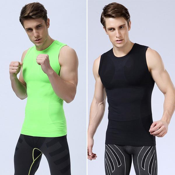 s Mens Undershirts Compression Athletic Training Sleeveless Casual Shirts QL