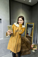 Winter Orange Genuine Sheep Leather Coat Hooded Lamb Fur Lining Zipper Breasted with Pockets Long Style Thick and Warm AU00657(China (Mainland))