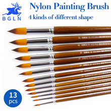 Buy 13Pcs/set Nylon Hair Paint Brush Round Pointed Flat Oblique Paint Brushes Oil Watercolor Acrylic Painting Art Supplies for $9.62 in AliExpress store