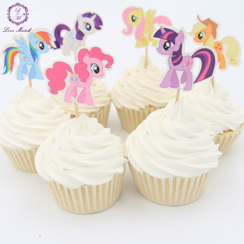 2016 new 24pcs party supplies my little pony cupcake for New home cupcake decorations