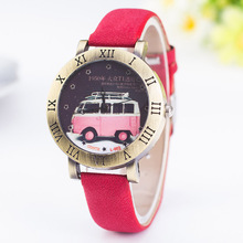 6 Colors  Vintage Leather  Watch Quartz Watches Fashion Casual  car Pattern Unisex Wristwatch Free Shipping