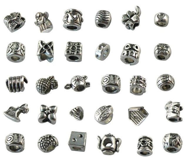 150 PCS MIXED LOTS OF TIBETAN SILVER EUROPEAN BEAD CHARM WITH BIG HOLE FOR CHARM BRACELET M19197