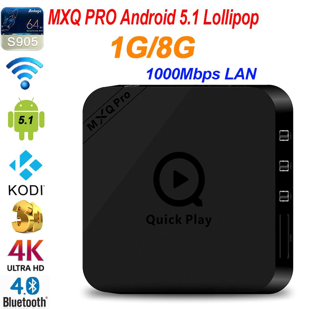 2016 hot TV Box MXQ PRO Amlogic S905 Android 5.1 Quad Core1G/8G WiFi 1000M LAN Bluetooth 4.0 KODI Pre-installed Beter than MXQ<br><br>Aliexpress