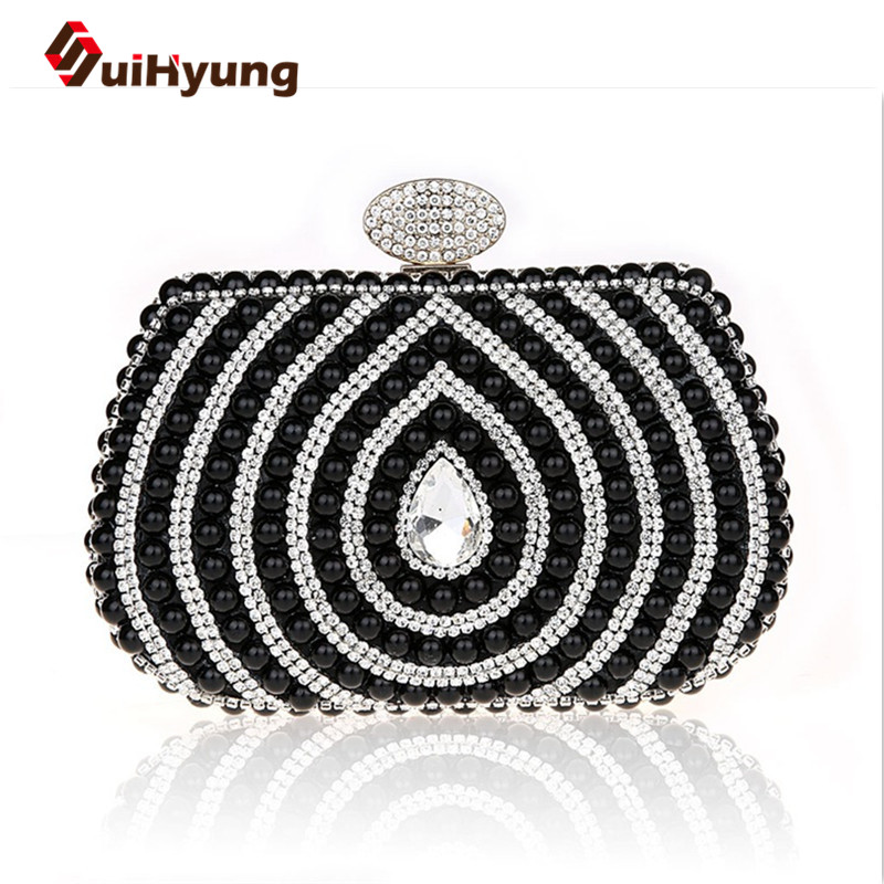 2016 New Luxury Women's Diamond Clutch Bag Wedding Bride's Small Beaded Pearls Party Evening Ladies Shoulder Handbags - SuiHyung-Bag store