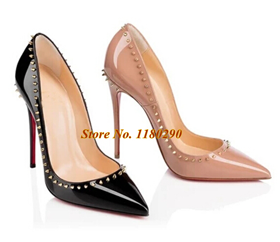 Hot Selling Women Fashion Pointed Toe Black Nude Patent Leather Rivet Pumps Red Bottom Spike High Heels Formal Dress Shoes
