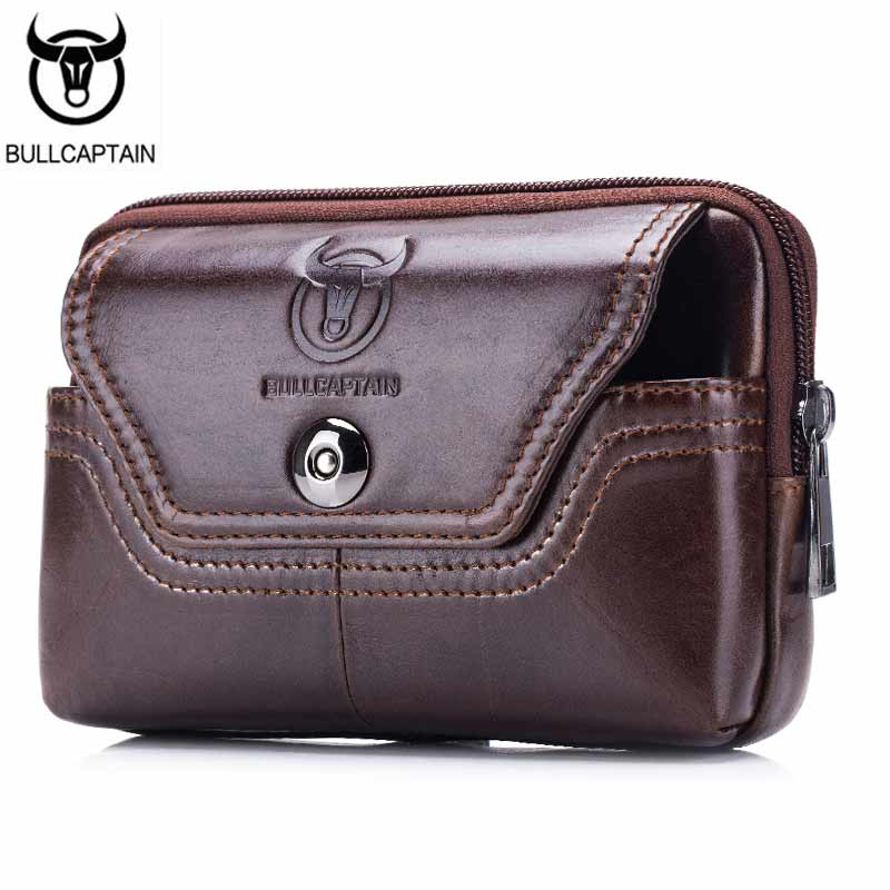 BULLCAPTAIN 2017 Hot Sale Fanny Pack Men Waist Bags Genuine Leather Bag Waist Packs Mobile Phone Cigarette Belt Bags For Male(China (Mainland))
