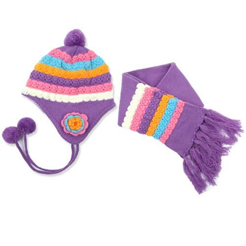 Детские теплая зима вязание крючком мочка уха крышка шляпа ничуть шарф для мальчик девочка детские крючком мочка