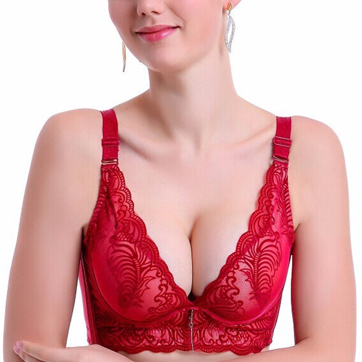 Lady Ultrathin Sexy Lace Bra Underwire 3/4 Cup Brassiere Women Push Up Gather Padded Bras Bustier Underwear 34/36/38/40 B Cup(China (Mainland))