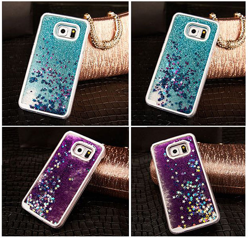 Fashion Glitter Bling Colorful Dynamic Sand Quicksand Star Liquid Hard Back Cover Case For Samsung A5 7 2015 S4/5/6/7  Note 3 4