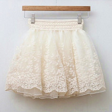 Buy Summer Woman Skirt Elastic Waist Sexy Lace Puff Short Skirts Embroidered Lace Girls Bust Ball Mini Skirt Tutu Skirts Beige Black for $7.99 in AliExpress store