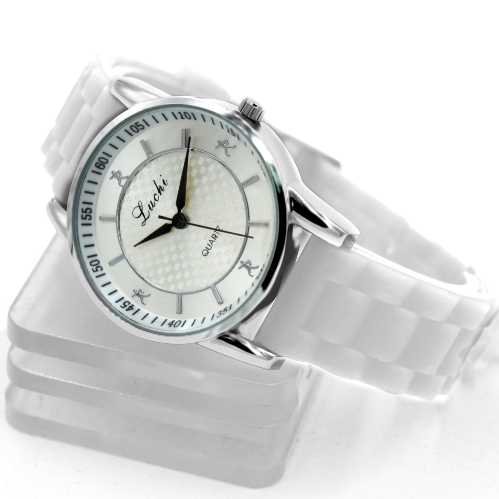 Charm PNP Shiny Silver Watchcase Silicone Perfect White Band Ladies Women Fashion Watch FW822F <br><br>Aliexpress