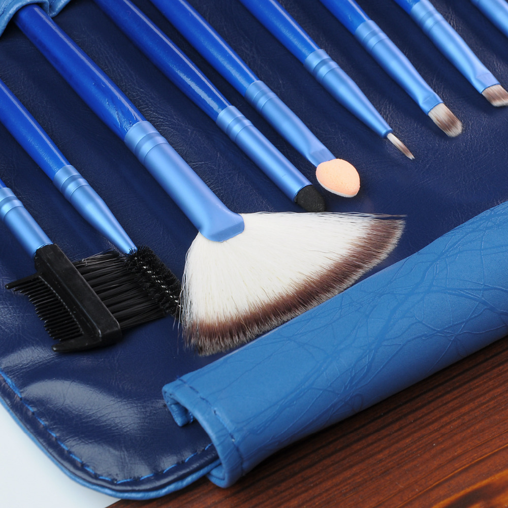2Soft Synthetic Hair Blue Makeup Brush make tools kit Cosmetic Beauty Powder Brushes Sets Leather bag - fashiontop store