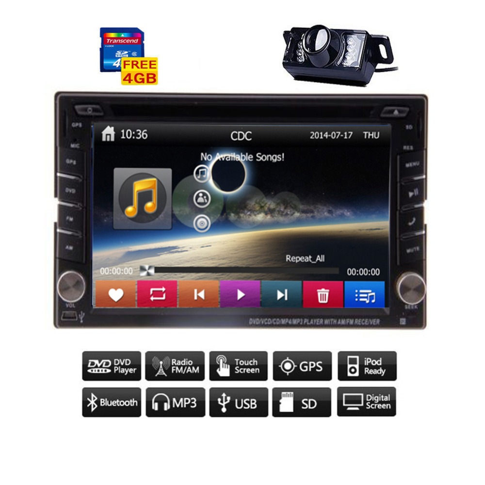 Free Map Card+Camera 2 Din Universal In Dash Car Stereo Car DVD Player GPS Car Radio HeadUnit 6.2 inch HD Touch Screen Bluetooth(China (Mainland))