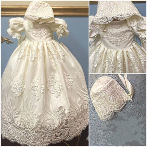 2016 White Ball Gown Christening Gown Appliques Lace Floor-length Baby Girl First Communion Dresses Baptism Dress with bonnet<br><br>Aliexpress