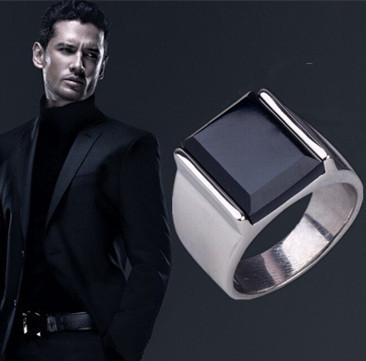 2015 New Fashion rings Punk Gothic Vintage Rectangular Rings For Men With Black Onyx for party
