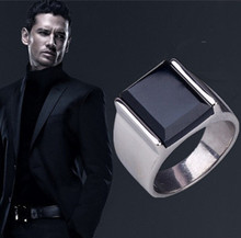Fashion Punk Gothic Black Onyx Stainless Steel Vintage Rings For Men FREE SHIPPING