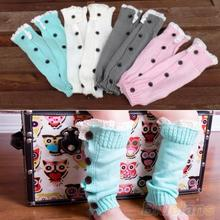 Baby Kids Girl's Crochet Knitted Button Toppers Lace Leg Warmers Trim Boot Cuffs Socks 1QED