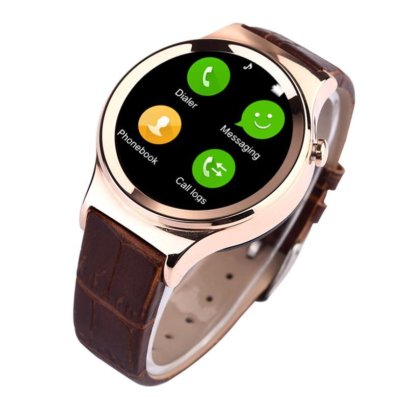 New Bluetooth Smart Watch Phone 1.22 HQ HD IPS Circular Screen smartwatch SIM Pedometer Dialer Notifier Anti-lost Leather strap<br><br>Aliexpress