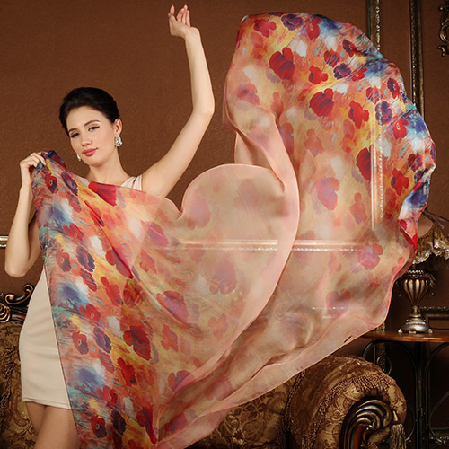 High quality 100% mulberry silk scarf natural real silk Women Long scarves Shawl Female hijab wrap Summer Beach Cover-ups P2(China (Mainland))